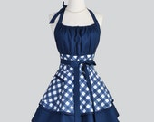 Flirty Chic Apron , Sexy Womens Apron in Navy Blue and White Bias Gingham