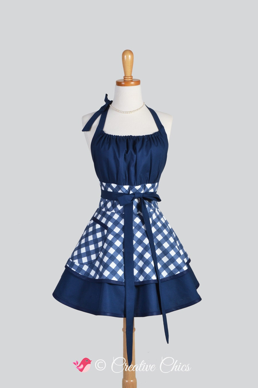 flirty chic apron sexy womens apron in navy blue and white. Black Bedroom Furniture Sets. Home Design Ideas
