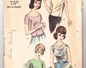 Vintage 1962 Vogue 5542 Sewing Pattern Misses Blouses Size 14 Bust 34