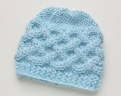 Knit Baby Hat Baby Boy Hat Newborn Baby Beanie / Baby Girl Hat / Photo Prop Hat Knit Baby Hat Infant Hat celtic knots BlueHaloClothing