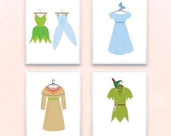 Disney Peter Pan Inspired Nursery Girl Art Print Set of 4 - Tinkerbell, Princess, Wendy, Tiger lily, Frozen, Kids Baby, Playroom
