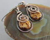 Artisan copper earrings with swirly drop and wrapped honey brown Picasso finish Czech glass briolette - Select your color