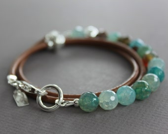Sterling silver aquamarine and maple brown colors agate wrap leather bracelet  - Agate bracelet or necklace - Beaded bracelet