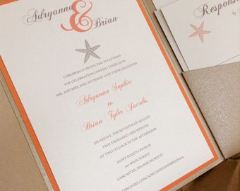 Starfish wedding invitation set with pocket fold in custom colors