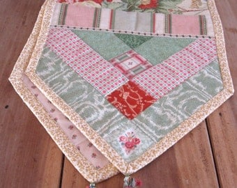 "Table runner fabric quilt art, 15""x 56"" Spring greens, floral, hand made tassels"