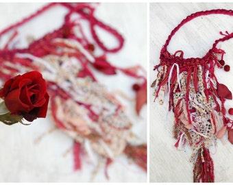 Fairy Rag Purse Pouch, Crimson Red Cream, Triangle Fabric Crocheted Bag, Fairy Bag