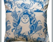 Owl - Hand Screen-Printed Cushion/Pillow in Blue *SALE*