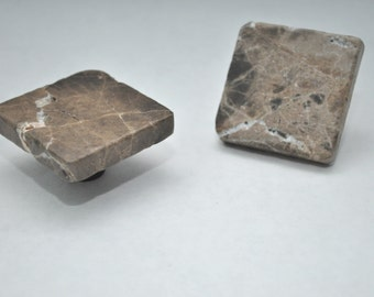 Emperador Dark Marble Tumbled Tile Knobs - Ready to Ship Pair