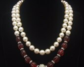 """Pearl Necklace, Vintage Necklace, White Necklace, Pearl Necklace Knotted White 46"""" Rope Rhinestone Cranberry Melon Bead Faux Pearl"""