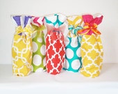 Wine Bags, 3 Pack Wine Sacks, Bottle Bag Sacks, Color Block Style, Easter Party, Graduation Gift, Wine Gift, Wine Lover, Hostess Gifts,