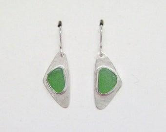 Sea Glass Jewelry - Sterling Green Sea Glass Earrings