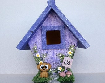 Lavender Mini Birdhouse with Puppy