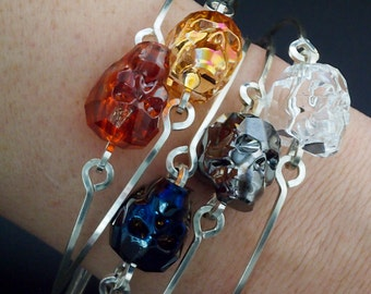 Sterling Silver Skull Bangle Kit with Swarovski Crystal