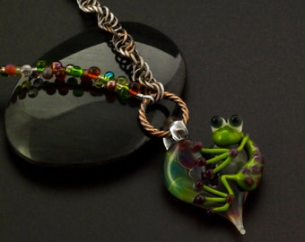 Froggy Woggy Doodle All The Day Necklace - Chainmaille, Lampwork Focal and Glass Beads - Kit or Ready Made