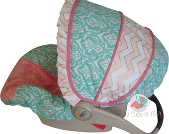Car Seat Cover Ikat Mint Coral with Gold Infant to Toddler