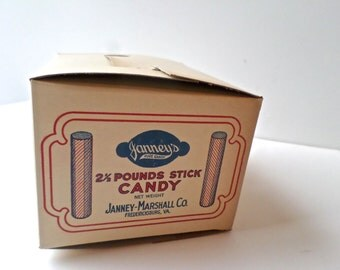 Vintage Advertising Candy Box, Janney-Marshall Co, Candy Emphemera, New Old Stock, Candy Advertising, deadstock advertising