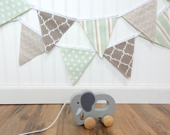 Bunting Fabric Banner, Fabric Flags, Nursery Decor, Birthday Decoration, Baby Shower - Light Green, Taupe, Tan, Chevron, Dots, Stripe