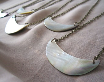 Crescent Shell Necklace. Large Carved Shell Piece. Antiqued Brass Chain. Mother of Pearl White Round Moon Design