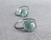 Grey Green Sparkle Hoops, Lampwork Glass Earrings, Green Hoop Earrings, Gray Earrings, Oxidized Sterling Silver Hoops