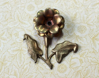Unusual Oxidized Brass Layered Riveted Woodland Flower