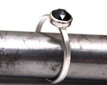 Black Spinel Ring, Rose Cut Black Spinel, 925 Sterling Silver Ring, Gemstone Ring, Stackable Ring