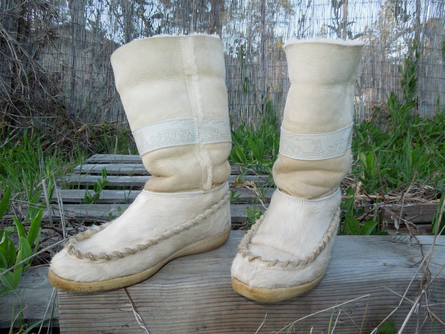 Vintage Tecnica Goat Fur And Leather Shearling Winter Boots