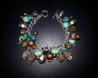 Teal with Brown Charm Bracelet