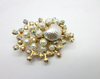 Beautiful Vintage Aurora Borealis Rhinestone and Faux Dimpled Pearl Brooch Pin