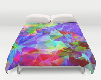 Polygon duvet cover,Colorful duvet cover,Abstract duvet cover,polygons bedding,polygonal duvet cover,purple duvet cover,polygons bedding