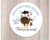 "Cute Brown Cow Farm Barnyard Customized Baby Shower or Birthday Favor Stickers, Printed or Printable 2.5"" Round"