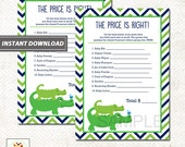 Preppy Alligator Price is Right Baby Shower Game Card, Printable PDF INSTANT DOWNLOAD bs-63