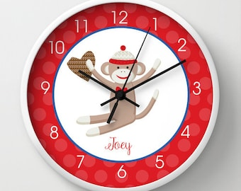"Sock Monkey Nursery Toddler 10"" Wall Clock Red, Choose Clock Frame color, hands, personalization"