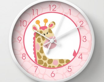 Pink Giraffe Jungle Jill Girl Safari Nursery 10-inch Wall Clock, Choose frame color, hands, personalization