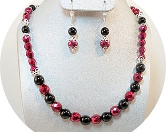 Red and Black, Necklace and Earrings, Black and Red, Necklace, Earrings, bridesmaid Jewelry, Holiday, Jewelry, Jewelry Set