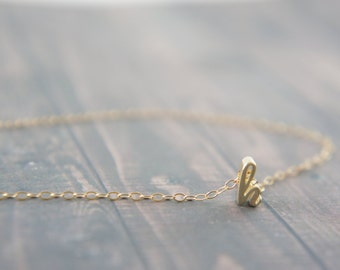 "Cursive Gold Letter, Alphabet, Initial  ""h"" necklace, birthday gift, lucky charm, layered necklace, trendy"