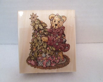 Boyds Bears ELLIOT & THE TREE Christmas Rubber Stamp, Scrapbook Stamp New