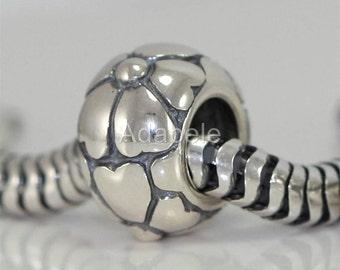 1pc Sterling Silver Charm Heart Petal Love Flower Charm Bead for European Charm Bracelets #EC195