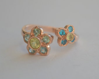 Victorian Inspired Two Flower Open Ring in Rose Gold with Chrysoberyl, Apatite, and Tourmaline