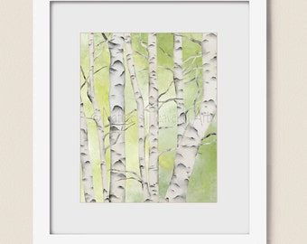 Gray and White Birch Tree Decor for Wall, 16 x 20 Print, Lime Green Nature Wall Art, Tree Branches  (5)