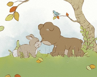 Teddy Bear and Bunny Wall Art Nursery Print 5 x 7, Boys or Girls Bedroom Art, Cute Childrens Art, Playroom Art (202)