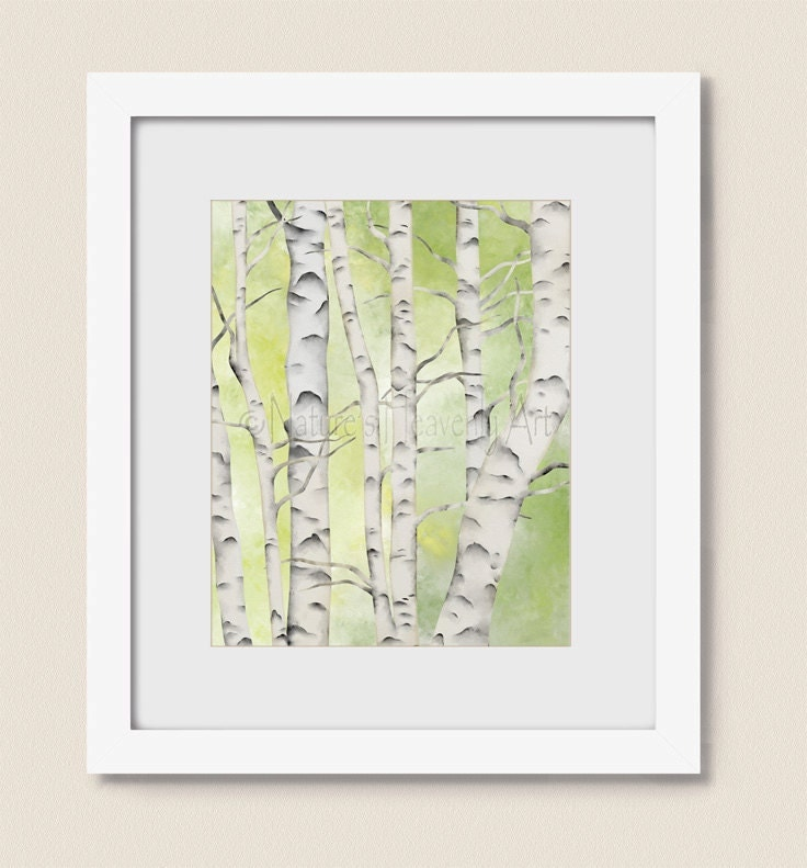 Gray and white birch tree decor for wall 16 x 20 print lime for White birch tree wall decal decorations