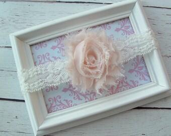 Baby Headband Ivory Shabby Chic Chiffon Flower and Stretchy Lace Headband