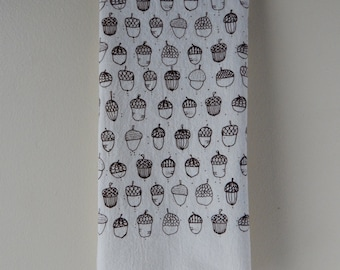 Kitchen Towel, Hand Printed, Acorns, Cotton