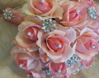 Rhinestone peach real touch rose wedding bouquet - bridal bouquet - pearls