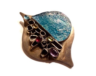 Sterling and Glass Modernist Organic Large Brooch. Handwrought.