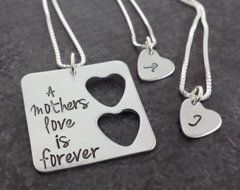Personalized Mother Daughter Jewelry - Sterling Silver Square with 2 Hearts Necklace Set - Mother Daughter Necklace Set