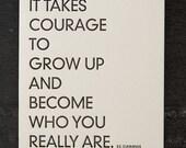cummings quote. letterpress card. #232