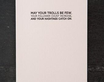 social media blessing. letterpress card. #631