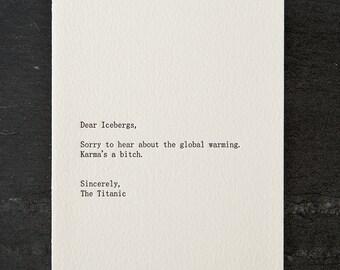 icebergs/titanic. letterpress card. #255