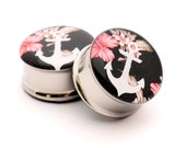 Floral Anchor Picture Plugs gauges - 16g, 14g, 12g, 10g, 8g, 6g, 4g, 2g, 0g, 00g, 1/2, 9/16, 5/8, 3/4, 7/8, 1 inch